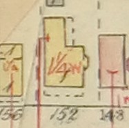 Picture 2: The outline of 152 William in the 1907 Fire Insurance Plan: the footprint of the house has stayed relatively unaltered since it was built.