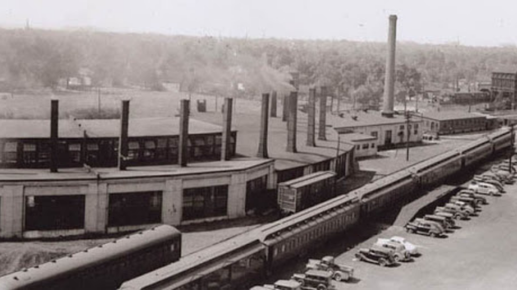 Picture 4: Thomas Evans worked at the Michigan Central Railway roundhouse, shown here.