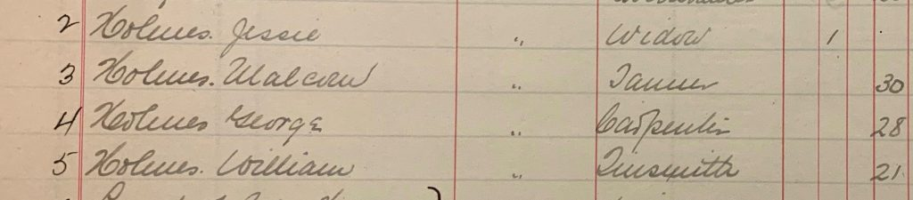 Picture 6: Portion of the 1906 Tax Assessment Roll, which shows Jessie Holmes and the names, occupations, and ages of her sons.